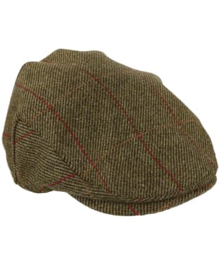 Heather Kinloch Waterproof British Tweed Flat Cap - Mid Olive / Red Check
