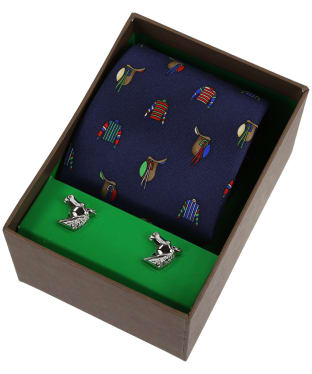 Soprano Jockey Racing Colours Tie and Cufflink Set - Navy / Multi