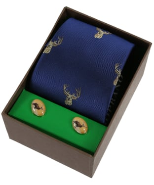 Men's Soprano Stags Head Tie and Cufflink Set - Navy