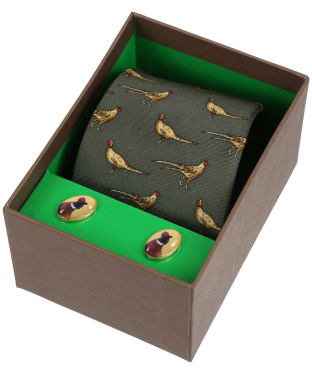Men's Soprano Standing Pheasants Tie and Cufflink Set