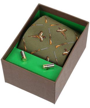 Men's Soprano Flying Pheasants and Shotguns Tie and Cufflinks Gift Set