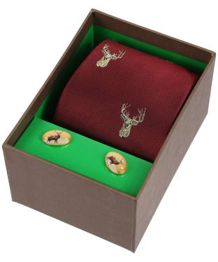 Men's Soprano Stags Head Tie and Cufflink Set - Wine