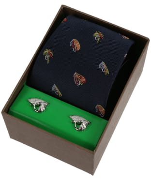 Soprano Fishing Flies Tie and Cufflink Set - Navy