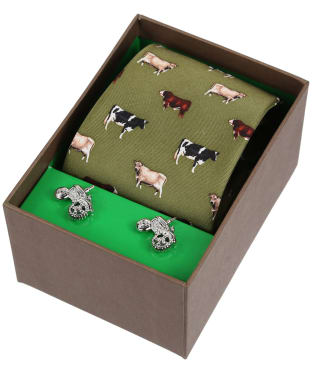 Men's Soprano Breed of Cows Tie and Cufflink Set - Green