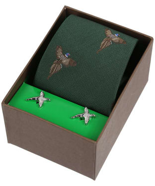 Men's Soprano Flying Pheasants Tie and Cufflink Set - Green