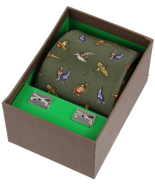 Men's Soprano Country Birds Tie and Cufflink Set - Green