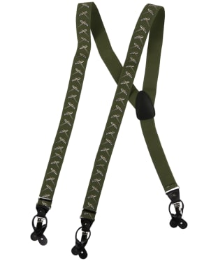 Men's Soprano Flying Pheasants 35mm Leather End Braces - Green