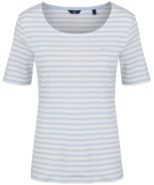 Women's GANT Striped Rib T-Shirt - Hamptons Blue