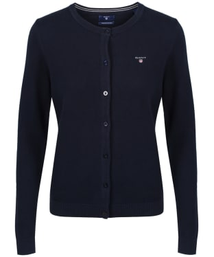 Women's GANT Pique Crew Cardigan - Evening Blue