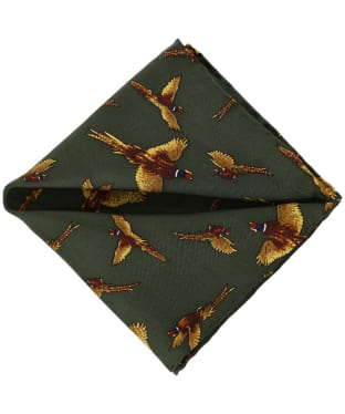 Men's Soprano Flying Pheasant Silk Pocket Square - Green