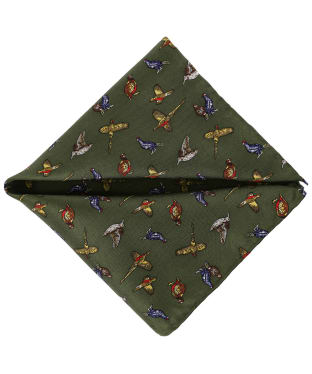 Men's Soprano Country Birds Silk Pocket Square - Green
