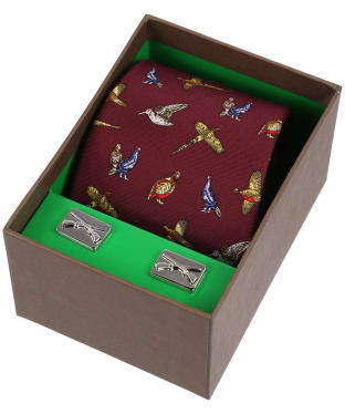 Men's Soprano Country Birds Silk Tie and Cufflink Set - Red
