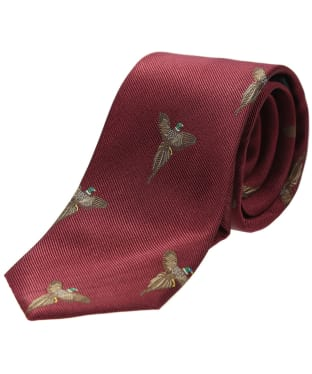 Men's Soprano Flying Pheasant Print Tie - Wine