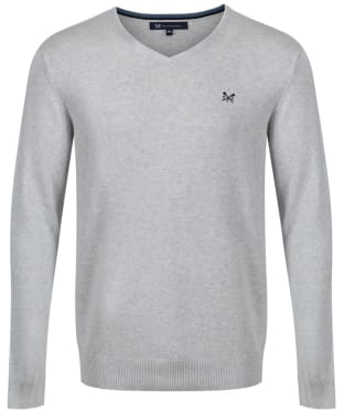Men's Crew Clothing Foxley V-Neck Sweater - Ice Grey Marl