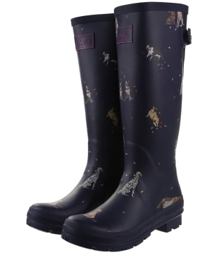 Women's Joules Welly Print Wellingtons - French Navy Dogs In Leaves