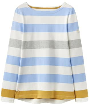 Women's Joules Harbour Jersey Top - Blue Gold Bold Stripe