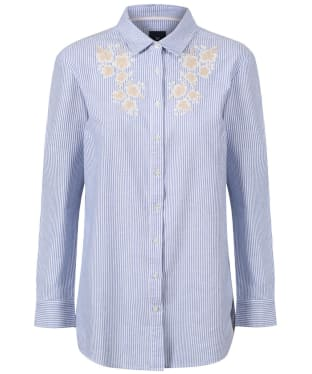 Women's Crew Clothing Embroidered Striped Shirt - Blue / White