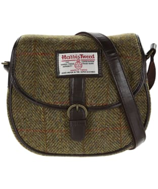 Women's Heather Moira Harris Tweed Saddle Bag - Olive / Gold