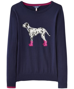 Women's Joules Miranda Intarsia Jumper - French Navy Dalmation