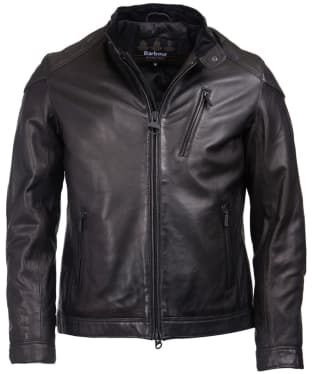 Men's Barbour International Marlon Leather Jacket - Black