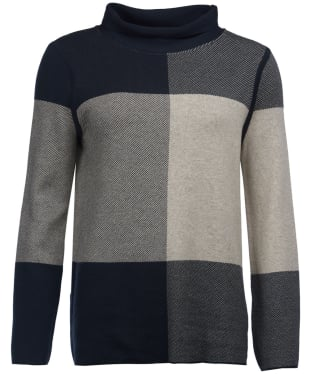 Women's Barbour Argyll Knitted Sweater - Navy / Oatmeal