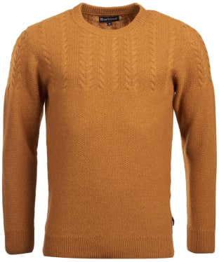 Men's Barbour Crastill Cable Knit Crew Neck Sweater - Mustard