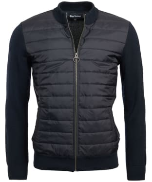 Men's Barbour Carn Baffle Zip Thru Quilted Sweater - Navy