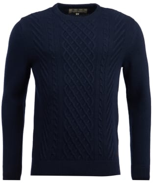 Men's Barbour Haywood Cable Knit Crew Neck Sweater - Navy