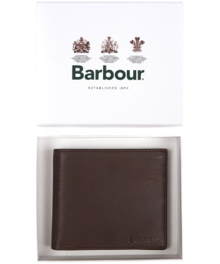 Men's Barbour Billfold Leather Wallet - Dark Brown