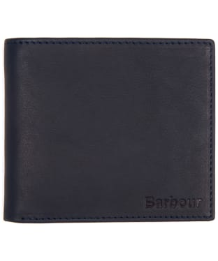 Men's Barbour Billfold Leather Wallet - Navy