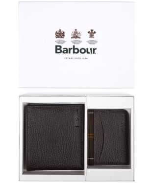 Men's Barbour Wallet and Cardholder Giftset - Dark Brown