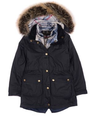 Girl's Barbour Dartford Wax Jacket, 2-9yrs - Navy
