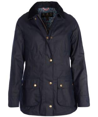 Women's Barbour Liberty Abbey Wax Jacket - Royal Navy / Fuchsia