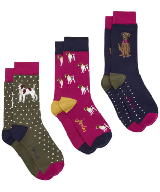 Women's Joules Brilliant Bamboo 3-Pack Socks - Dog