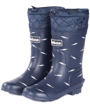Barbour Kids Corbridge Wellington Boots - Navy / Print