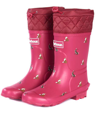 Barbour Kid's Corbridge Wellington Boots - Berry Pink / Print