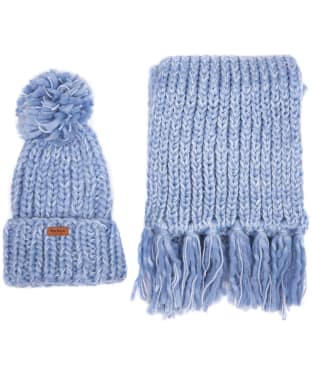 Women's Barbour Chunky Knit Hat and Scarf Set - Pale Blue