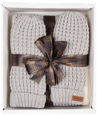 Women's Barbour Fleece Lined Snood and Mitt Set - Ice White