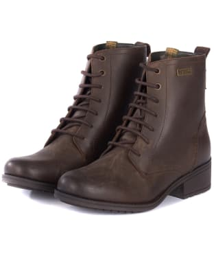 Women's Barbour Roma Derby Boots - Dark Brown