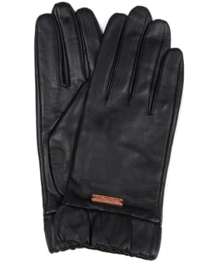 Women's Barbour International Latch Leather Gloves - Black