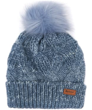 Women's Barbour Bridport Pom Pom Beanie Hat - Mid Blue