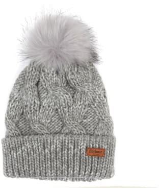 Women's Barbour Bridport Pom Pom Beanie Hat - Grey