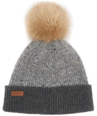 Women's Barbour Foreland Pom Beanie Hat - Light Grey