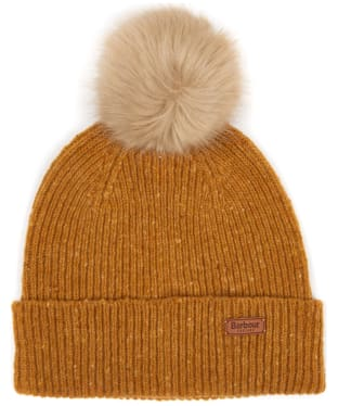 Women's Barbour Foreland Pom Beanie Hat - Gold