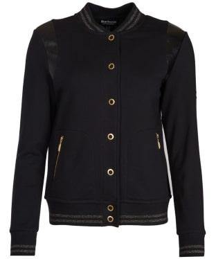 Women's Barbour International Grid Bomber Sweater Jacket - Black