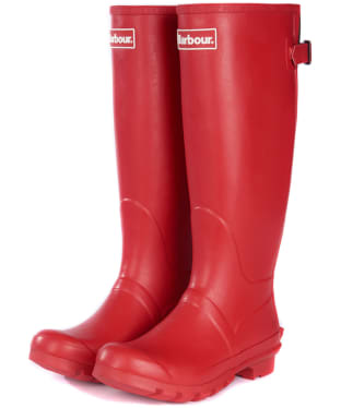 Women's Barbour Jarrow Back Adjustable Wellingtons - Tartan Red