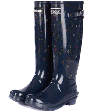 Women's Barbour Bede Wellington Boots - Navy Print