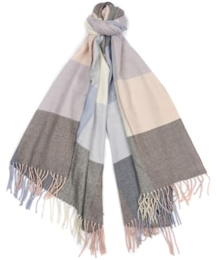 Women's Barbour Pastel Check Scarf - Blue / Pink / Grey