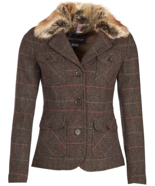 Women's Barbour Ettrick Tailored Jacket - Olive / Berry Check