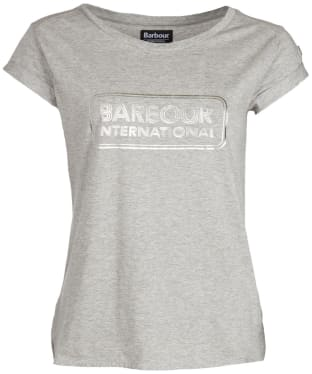 Women's Barbour International Aragan Tee - Light Grey Marl